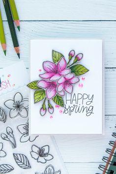 Pretty Pink Posh   Cherry Blossoms & Polychromos Pencils. Handmade card by Yana Smakula