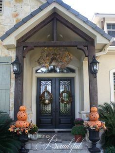 Orange Pumpkin Topiary Fall Entryway House With Porch, House Front, Homemade House Decorations, Fall Entryway, Entryway Ideas, Double Front Doors, Front Entry, Building A Porch, House Building