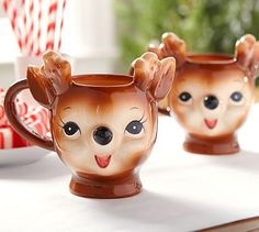 Cheeky Reindeer Figural Mug - Benefiting Give a Little Hope Campaign #potterybarn