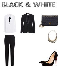 """""""Black & White Outfit"""" by julie236 ❤ liked on Polyvore featuring MANGO, Christian Louboutin, Yves Saint Laurent, Paul Smith Black Label, Topshop, classic, stylish, classy and fashionbrands"""