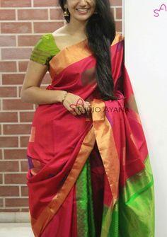 Saree Half Saree Designs, Saree Blouse Neck Designs, Trendy Sarees, Stylish Sarees, Indian Silk Sarees, Indian Beauty Saree, Indian Dresses, Indian Outfits, Bridal Silk Saree