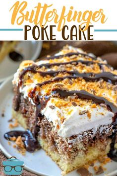 Butterfinger Poke Cake starts with a boxed marble cake mix and filled with a delicious caramel sauce and topped with caramel whipped topping.