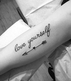 15 Amazing Arrow Tattoos for Females: #2. Quote Arrow Tattoo; #tattoos #TattooIdeasFemale