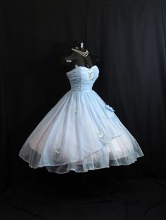 Vintage 1950's 50s STRAPLESS Baby Blue Ruched by VintageVortex, $349.99 (Available 072013)