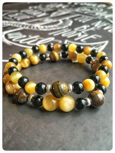 Bracelet femme élastique superposable miel par SAUCHAinspirations