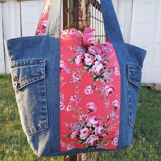 Image of pretty pink eco tote, in floral and denim