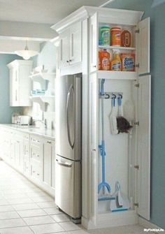 A smart use of space, and perfect for a family home with Alzheimer's. The cleaning supplies would visually disappear, and be less of a safety issue.
