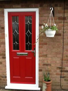 2 Panel 1 Grill Composite Front Door in Red   Composite Entrance ...