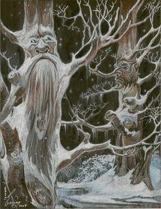 Fantasy Trees Tree Nymph Snow Original Artwork by by biggirl4664
