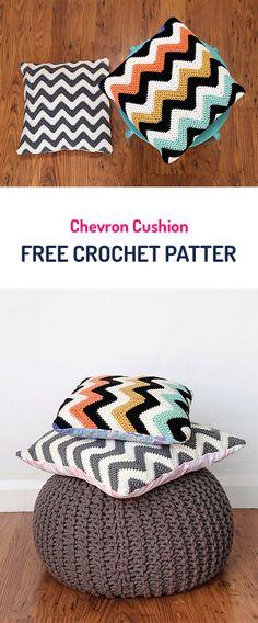 Chevron Cushion Free Crochet Pattern #crochet #pillow #style #homedecor #crafts #yarn