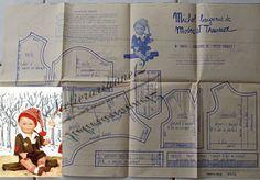 ❤ Patron original, poupée Michel MODES ET TRAVAUX, Janvier 1962 ❤