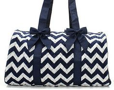 Personalized Navy Chevron Quilted Duffle Bag by EmbroideryByLindaP, $39.50