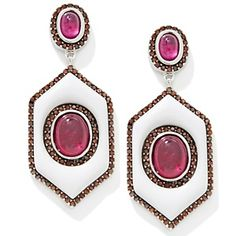 Rarities: Fine Jewelry with Carol Brodie Ruby, Diamond and White Agate Earrings at HSN.com.