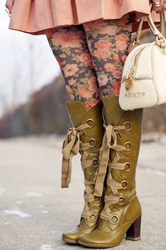 Winnipeg Canadian Fashion Stylist Consultant Blog,  Forever 21 rose floral print tights, Juicy Couture terry rose embroidered bowler purse, John Fluevog Hildegard Soprano olive green knee high lace up leather boots