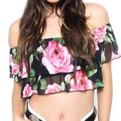 Rosie Crop Top Floral chiffon tiered ruffle top. Off shoulder sleeves. Built in elastic bandeau. Tops Crop Tops