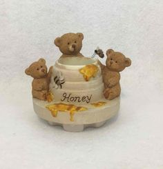 Home Interiors & Gifts 3 Bears Honey Pot Bumble Bee Candle Jar Topper #HomeInteriors