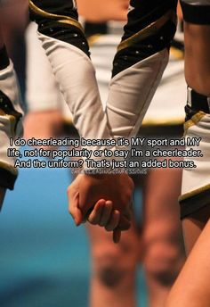 cheer is a sport. cheer is a life style. cheer is life. Cheer Coaches, Cheer Stunts, Cheer Dance, Cheer Qoutes, Cheerleading Quotes, Cheer Sayings, Cheerleading Cheers, Gymnastics Quotes, Uca Cheer
