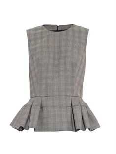 Prince of Wales-check peplum top | Alexander McQueen | MATCHES...