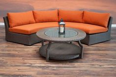 Perfect for outdoor lounging, this Hampton set comprises of 3 pieces: two armless sofa pieces and a round coffee table.