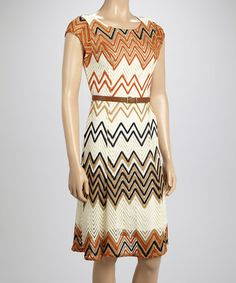 Love this Creme Zigzag Crocheted Dress by Sharagano on #zulily! #zulilyfinds
