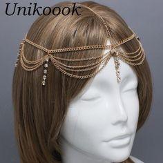 Boho Gold Draping Chain Fringe Rhinestone Hair Cuff Arabian Head Bridemaid Bride