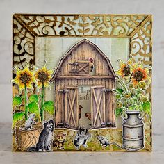 Heartfelt Creations - Welcome to Our Coop Chicken Images, Sunflower Images, Birthday Sentiments, Card Making Tutorials, Animal Birthday, Farm Yard, Heartfelt Creations, Flower Shape