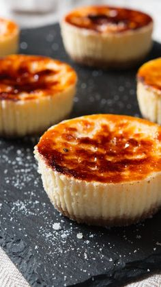 Mini Creme Brûlée Cheesecakes is part of dessert Cheesecake Mini - Two divine desserts come together for one flavorful union Mini Desserts, Just Desserts, Delicious Desserts, Yummy Food, Elegant Desserts, Bite Size Desserts, Egg Desserts, Mini Dessert Recipes, Gourmet Desserts