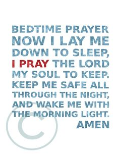 Childrens Bedtime Prayer in Dusty Blue with Pop of by enduringarts, $15.00