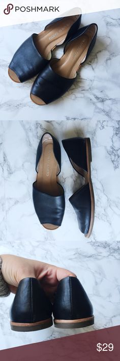 Franco Sarto Venezia Leather Flats Black leather open toe d'Orsay flats. Rubber sole. Gently used, no scuffs or damage. Franco Sarto Shoes Flats & Loafers