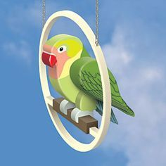 """3D Love Bird DIY Woodcraft Pattern #2168 - Display this beautiful bird in your home without the mess of a real one. (Shown on Perch Pattern #2169 sold seperately.)11""""H x 4.5""""W x 15""""L Pattern by Sherwood Creations #woodworking #woodcrafts #pattern #craft #3D #lovebird"""
