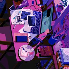 Portfolio of Rebecca Mock, an extraordinarily talented illustrator and animator. Famous for her unique animated gif illustration style. Illustration Agency, Japon Illustration, Cute Illustration, Studying Gif, Gifs, Book Gif, Animation, Aesthetic Gif, Anime Scenery