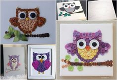 How to DIY Cute Mosaic Button Owl Art | www.FabArtDIY.com