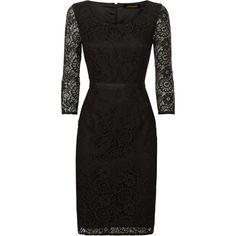 Jaeger Lace Dress (1.305 NOK) ❤ liked on Polyvore featuring dresses, black, 3/4 sleeve cocktail dress, black midi dress, lace maxi dress, black maxi dress and black shift dress