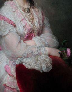 Franz Xaver Winterhalter - portrait detail, Countess Marie Branicka de Bialacerkiew 1865.