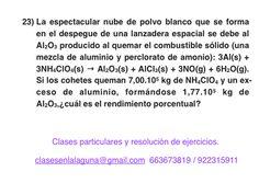 Ejercicio 23. Tema: Rendimiento (reacciones químicas)