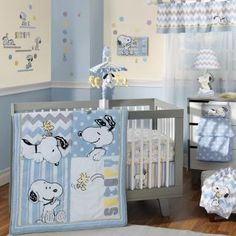 Our favorite canine, Snoopy, pals around with his BFF, Woodstock, in this modern nursery collection. Super soft minky fabrics add dimension in addition to detailed embroidery and appliques.  Blues, whites, grey and canary yellow add to the fun.  A combination of chevrons, dots and stripes decorate the coordinating accessories.