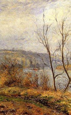 """Camille Pissarro (1830-1903) ~ """"Pontoise, les Bords de l'Oise, Le Pêcheur"""" (Détail)"""
