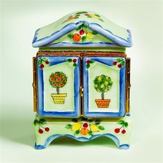 Limoges English Country Armoire with Topiary Trees and Clothes Box The Cottage Shop