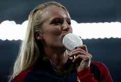 Silver medalist Sandi Morris of the United States stands on the podium during the medal ceremony for the Women's Pole Vault on Day 15 of the Rio 2016 Olympic Games at the Olympic Stadium on August 20, 2016 in Rio de Janeiro, Brazil. (Aug. 19, 2016 - Source: Patrick Smith/Getty Images South America)