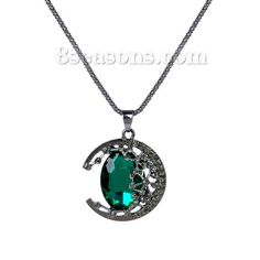 Wholesale New Fashion Necklace Popcorn Chain Gunmetal Moon Pendant Faceted Malachite Green & Black Rhinestone – 8seasons.com