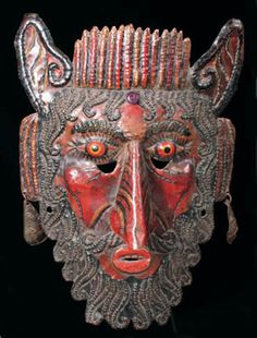 Mexican large copper rain mask, Guerrero, Mexico - Art Curator & Art Adviser. I am targeting the most exceptional art! See Catalog @ http://www.BusaccaGallery.com