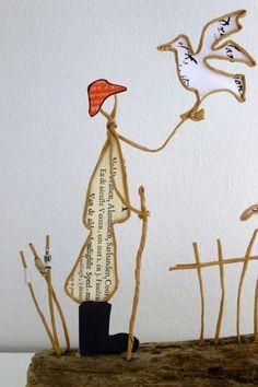 Le marin et le goéland - figurines en ficelle et papier : Accessoires de maison par ficelleetpapier