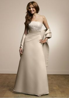 Satin Strapless Lace Bodice Hot Sell Bridesmaid Dress