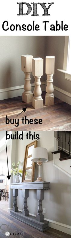 Easy DIY Console Table – very cool, especially for a narrow entry way - DIY Furniture Couch Ideen Furniture Projects, Home Projects, Diy Furniture, Furniture Plans, Building Furniture, Furniture Storage, Furniture Design, Repurposed Furniture, Bedroom Furniture Makeover