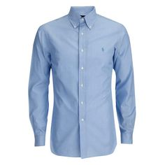 Polo Ralph Lauren Men's Tonal Logo Dress Shirt - Blue ($64) ❤ liked on Polyvore featuring men's fashion, men's clothing, men's shirts, men, male clothes, blue, men's apparel, mens blue dress shirt, mens blue polo shirts and mens clothing