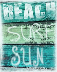 Vintage Beach Sign Photograph  Beach  Surf  by SevenElevenStudios