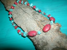 RED AND TURQUOISE BEADED NECLACE**