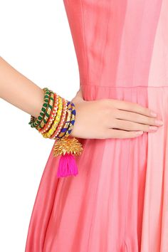 Aprajita Toor presents Set of 7 multicolored gota ribbon bangles available only at Pernia's Pop Up Shop.