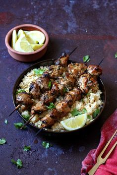 Kebabs with charmoula citrus dressing