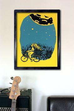 Screen Print Poster, Large Screen Print, Limited Edition, Yellow Poster, Blue Wall Decor, Sunflower Print, Moon Print, Bike Art